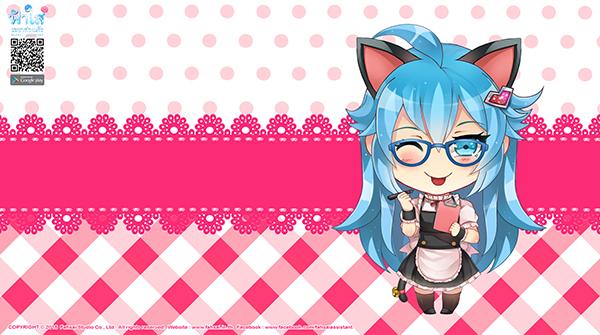 Wallpaper ฟ้าใส ชุดเมดหูแมว (ชมพู)